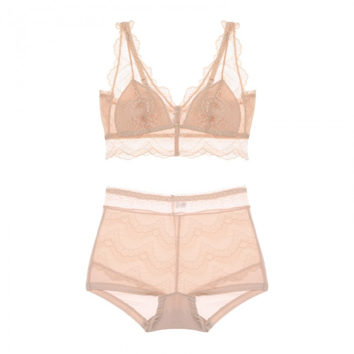 Beige Lacy Coolsilk Bralette (1mm Padded) & Panty Set