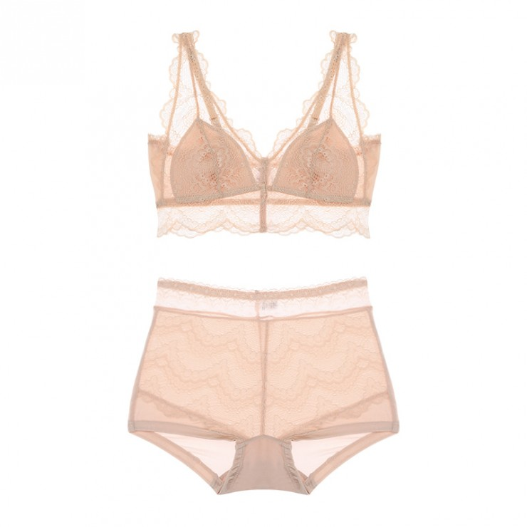 Beige Lacy Coolsilk Bralette & Panty Set