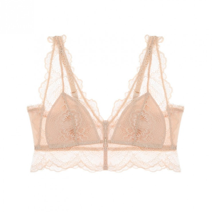 Beige Lacy Coolsilk Bralette (1mm Padded)