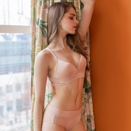 Beige Skinny Coolsilk Bralette (2mm Padded) & Panty Set
