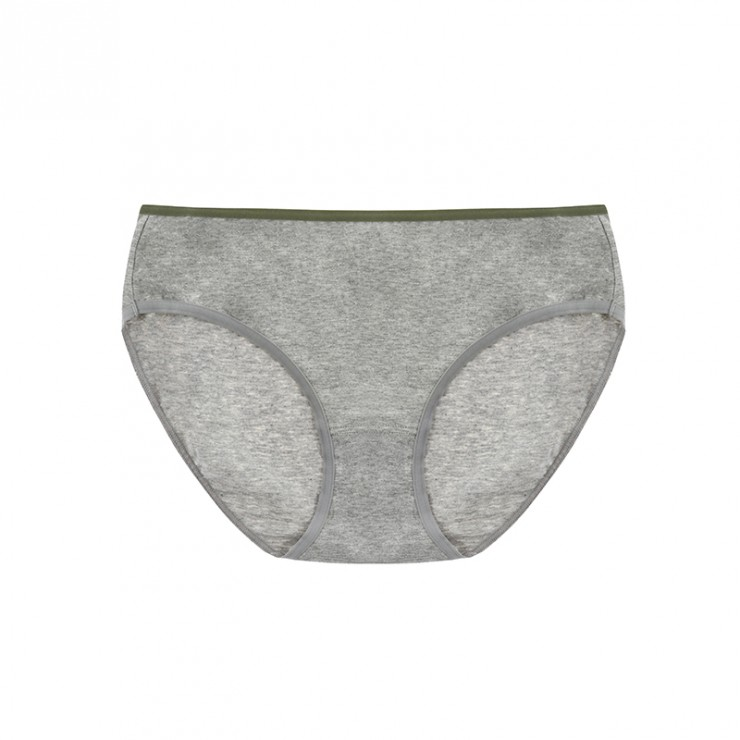 Gray Cotton Basic Hiphugger Panties