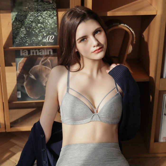 Gray Cotton String Bralette (5mm Padded)