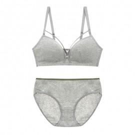 Gray Cotton String Bralette & Panty Set