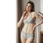 Gray Cotton String Bralette (5mm Padded) & Panty Set