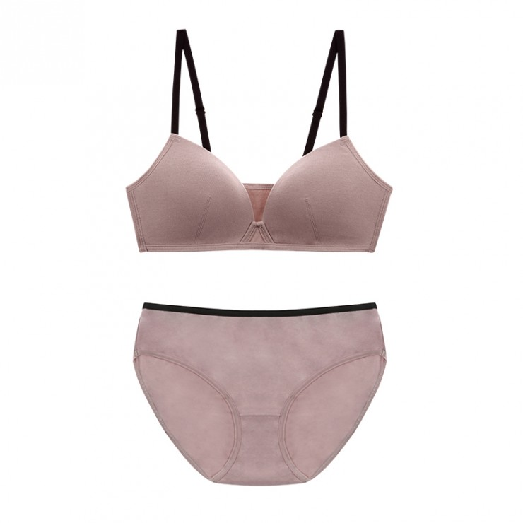 IndiPink Cotton Basic Bralette & Panty Set