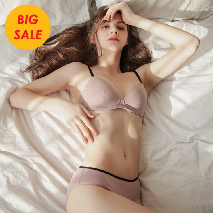 IndiPink Cotton Basic Bralette (5mm Padded) & Panty Set