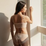 Beige Lacy Comfort Bralette (2mm Padded) & Panty Set