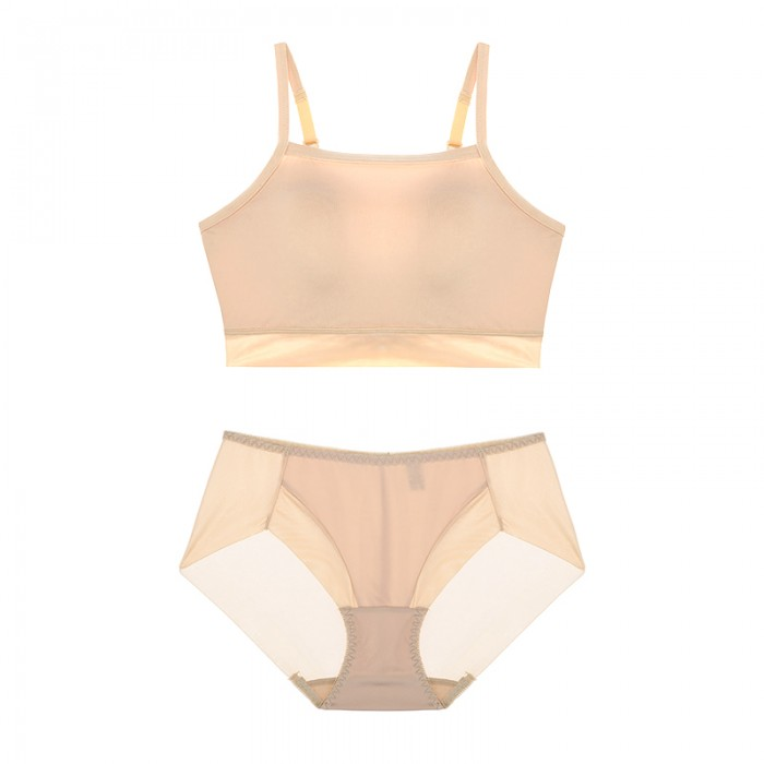 Beige Sporty Lulu Bralette (2mm Padded) & Panty Set