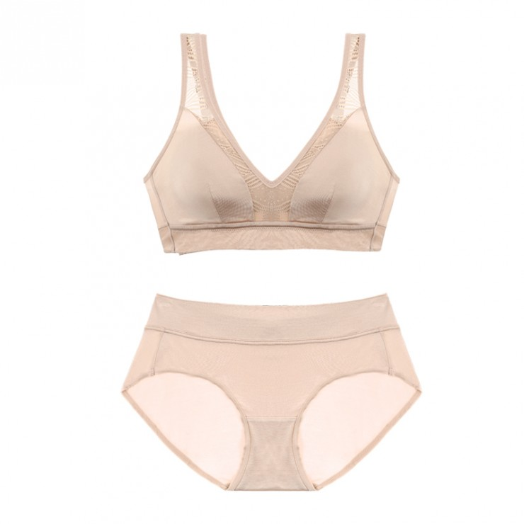 Beige  Cozy Coolsilk Bralette (5mm Padded) & Panty Set