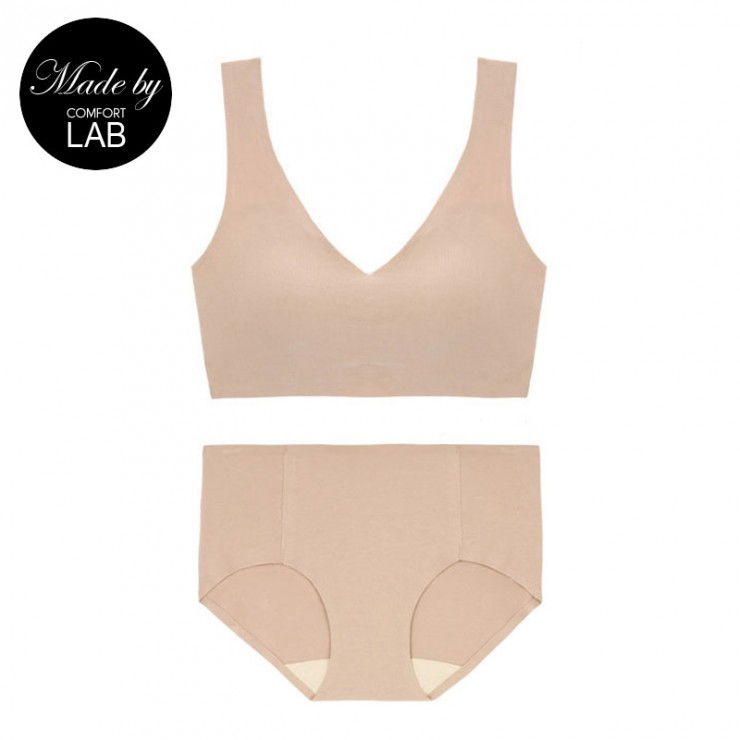 Beige Cotton Comfy Bralette (Only A,B Cup) & Panty Set