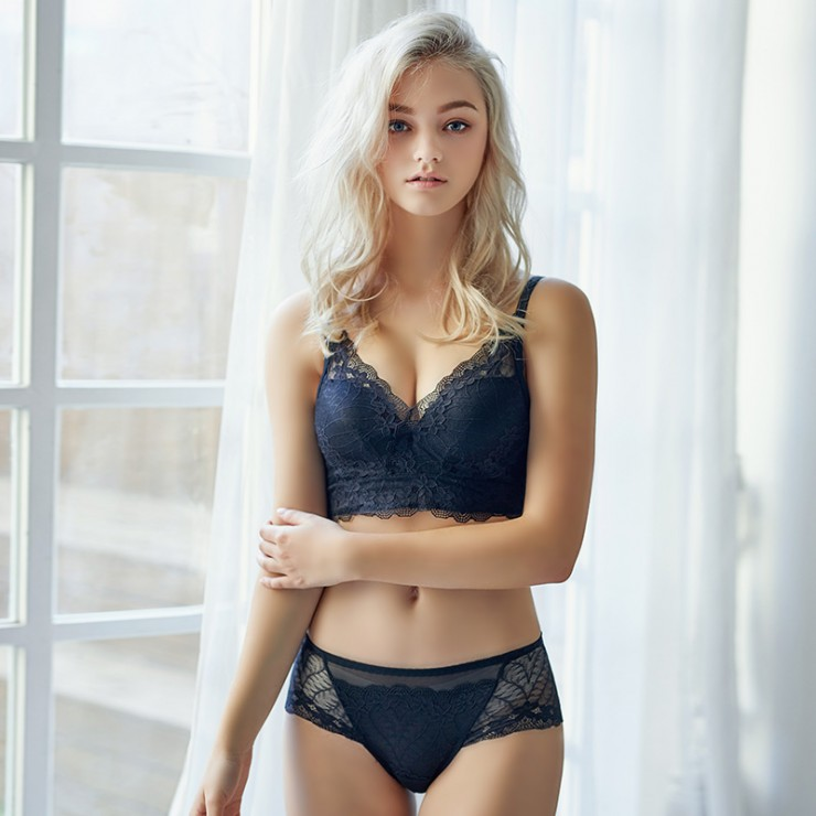 Black Lacy Comfort Bralette (2mm Padded) & Panty Set