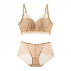 Beige Meshy Push-up Bralette (7mm Padded) & Panty Set