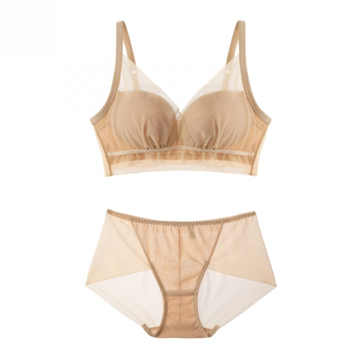 Beige Meshy Extreme Push-up Bralette (30mm Padded) & Panty Set
